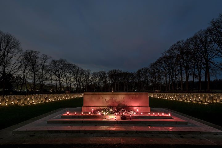 Arnhem war cemetery on Christmas Eve with candles